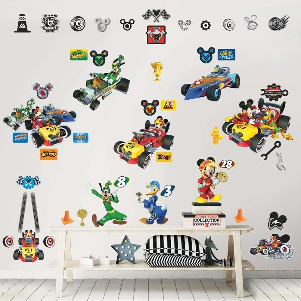 Walltastic Zestaw do dekoracji pomieszczeń Disney Mickey Mouse naklejki ścienne, polipropylen, Multi, 6 dużych arkuszy