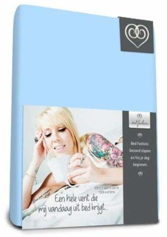 Bed-Fashion Prześcieradło z gumką z dżerseju 140 x 220 cm - niebieskie, miękkie, podwójne
