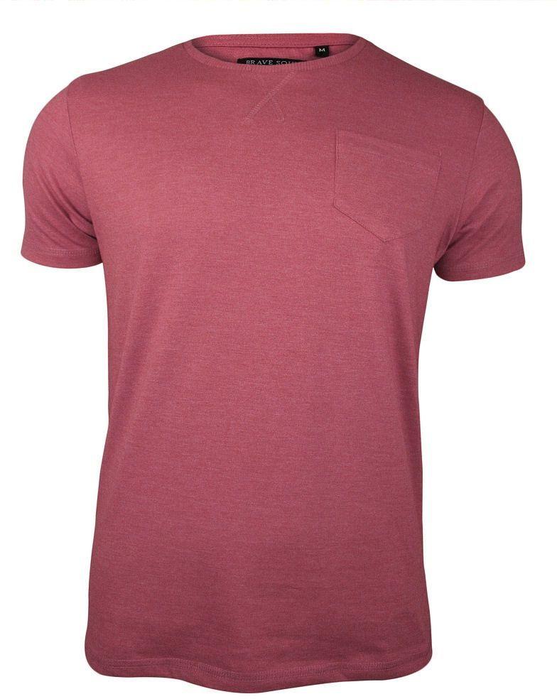 Różowy T-Shirt (Koszulka) z Kieszonką, Bez Nadruku -Brave Soul- Męski, Okrągły Dekolt, Łososiowy TSBRSSS20ARKHAMpeachblossom