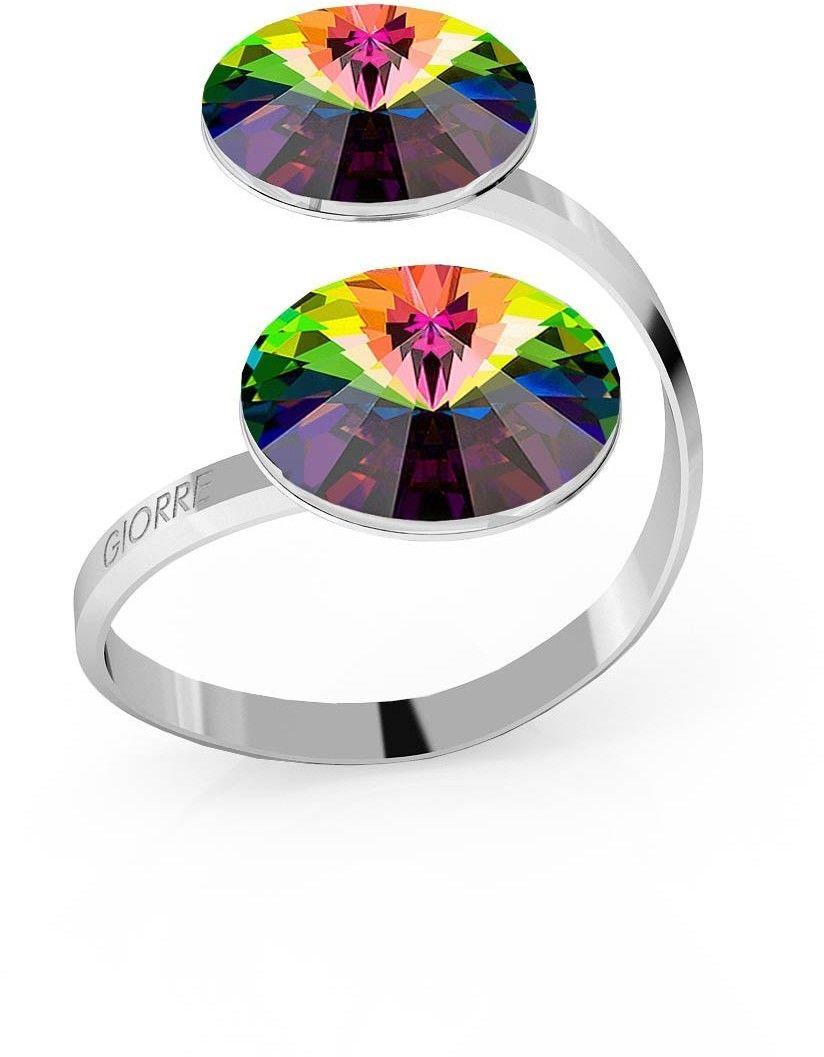 Srebrny pierścionek Swarovski rivoli 12mm, srebro 925 : Kryształy - kolor - Crystal VM, Srebro - kolor pokrycia - Pokrycie platyną