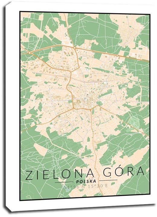 Zielona góra mapa kolorowa - obraz na płótnie wymiar do wyboru: 30x40 cm