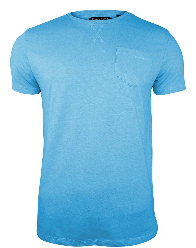 Błękitny T-Shirt (Koszulka) z Kieszonką, Bez Nadruku -Brave Soul- Męski, Okrągły Dekolt, Niebieski TSBRSSS20ARKHAMiceblue