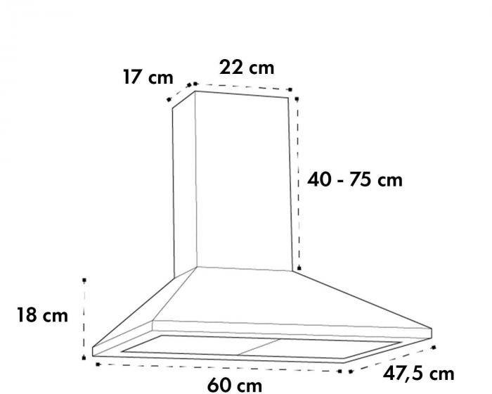Klarstein Zugspitze 60, ścienny okap kuchenny, 65W, 310m/h, LED, czarny