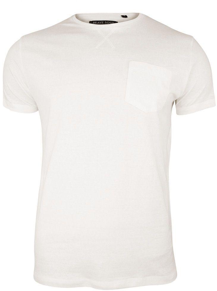 Kremowy T-Shirt (Koszulka) z Kieszonką, Bez Nadruku -Brave Soul Męski, Okrągły Dekolt, Écru, Bawełna TSBRSSS20ARKHAMecrue