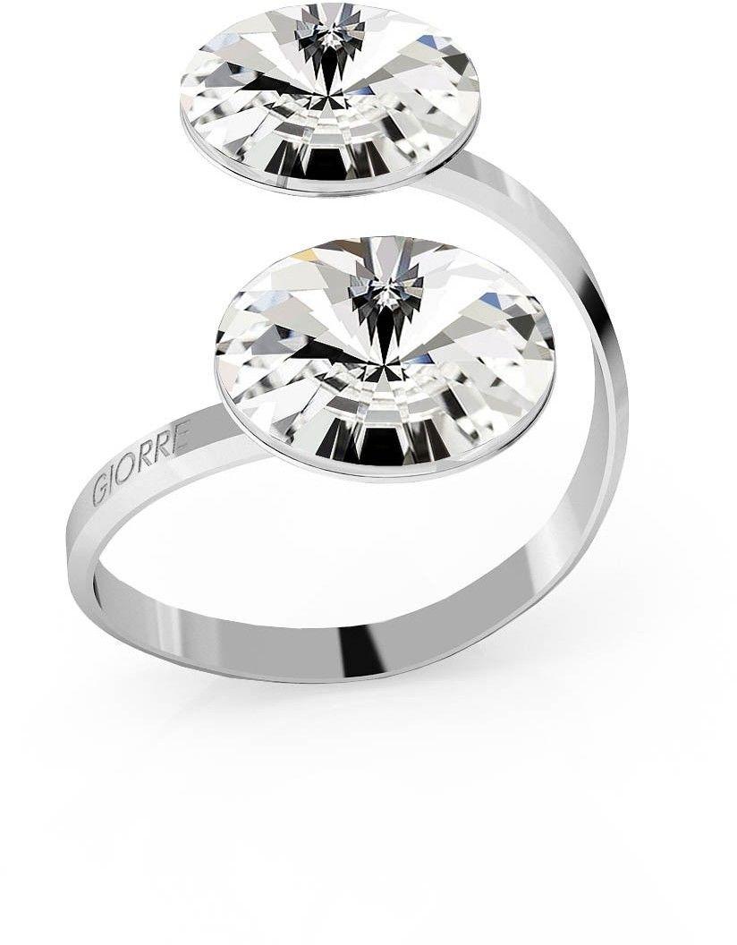 Srebrny pierścionek Swarovski rivoli 12mm, srebro 925 : Kryształy - kolor - Crystal, Srebro - kolor pokrycia - Pokrycie platyną