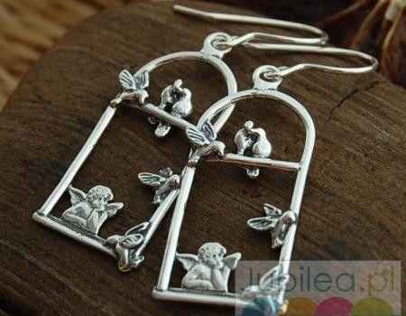 Anioł marzyciel - srebrne kolczyki