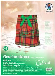 Ursus 5150049  pudełko na prezent Celina, 5 sztuk, czerwona kratka