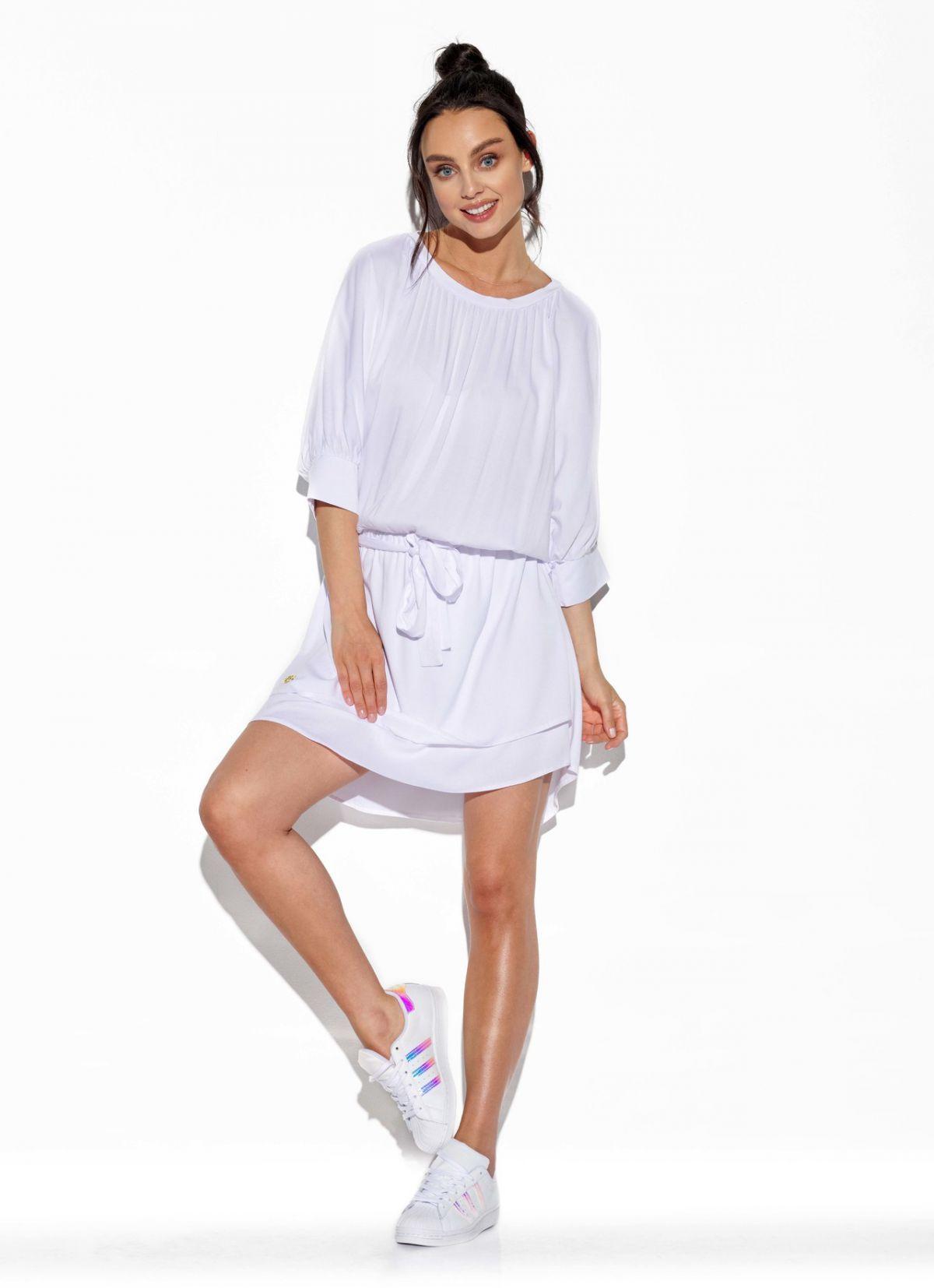 Klasyczna, zwiewna sukienka z wiązaniem w pasie L325 biały