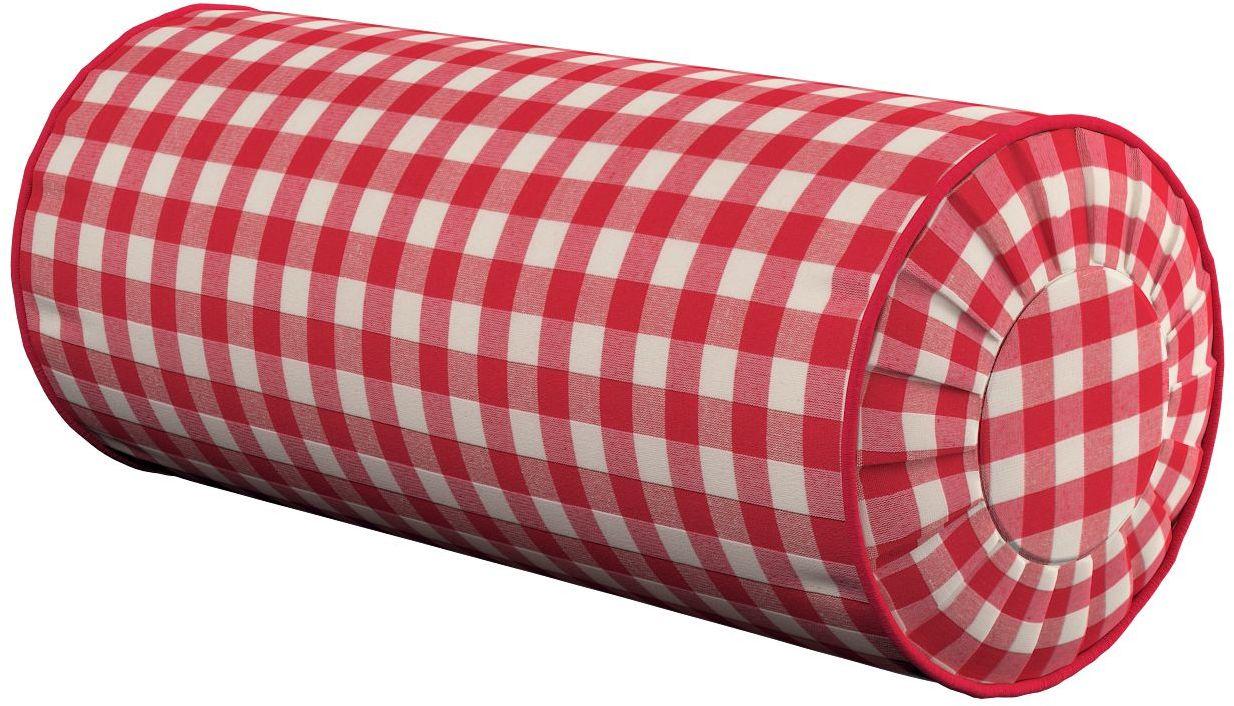 Poduszka wałek z zakładkami, czerwono biała kratka (1,5x1,5cm), Ø20  50 cm, Quadro