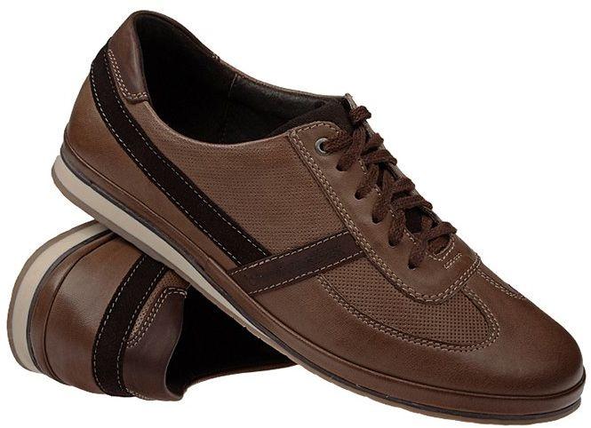 Półbuty NIK 03-0368-007 Brązowe Casual Sneakersy męskie
