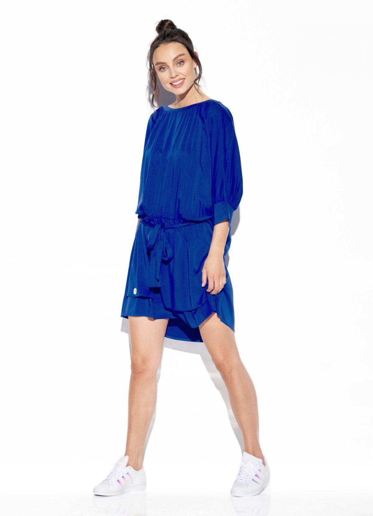 Klasyczna, zwiewna sukienka z wiązaniem w pasie L325 chaber