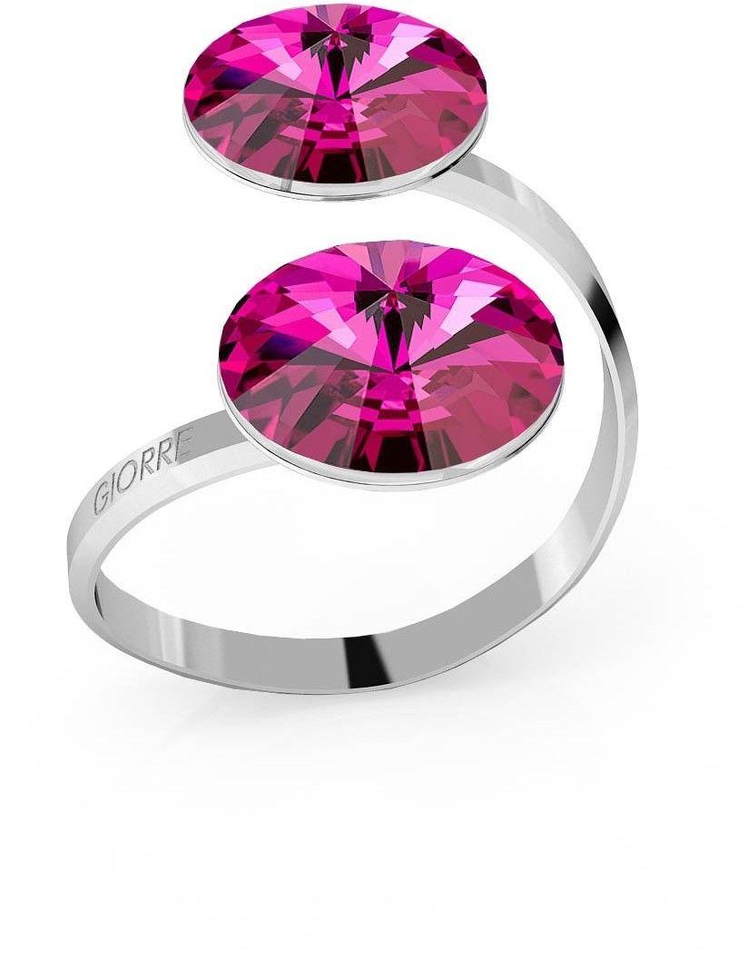 Srebrny pierścionek Swarovski rivoli 12mm, srebro 925 : Kryształy - kolor - Fuchsia, Srebro - kolor pokrycia - Pokrycie platyną