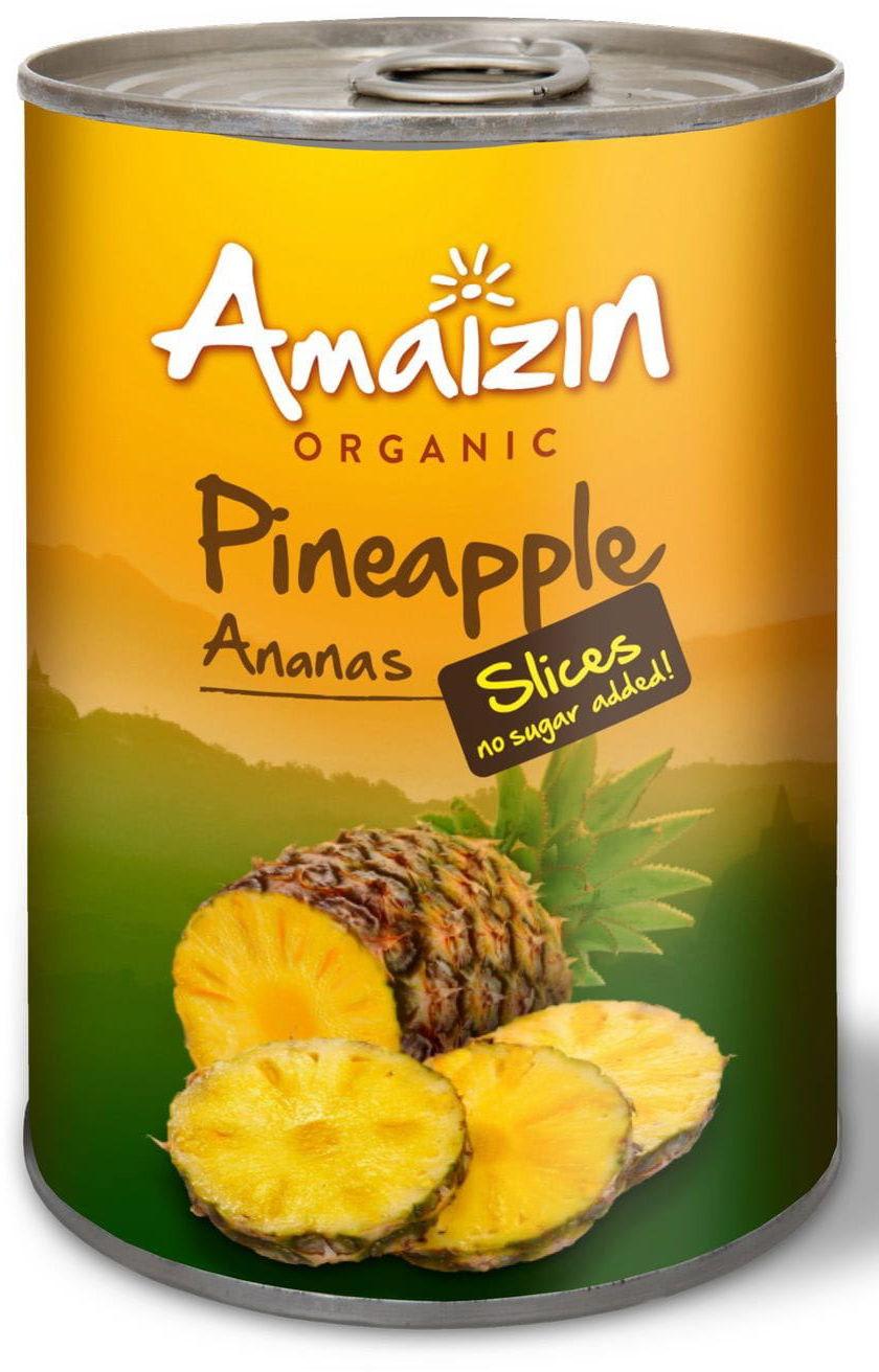 Ananas plastry w soku własnym puszka bio 400 g - amaizin