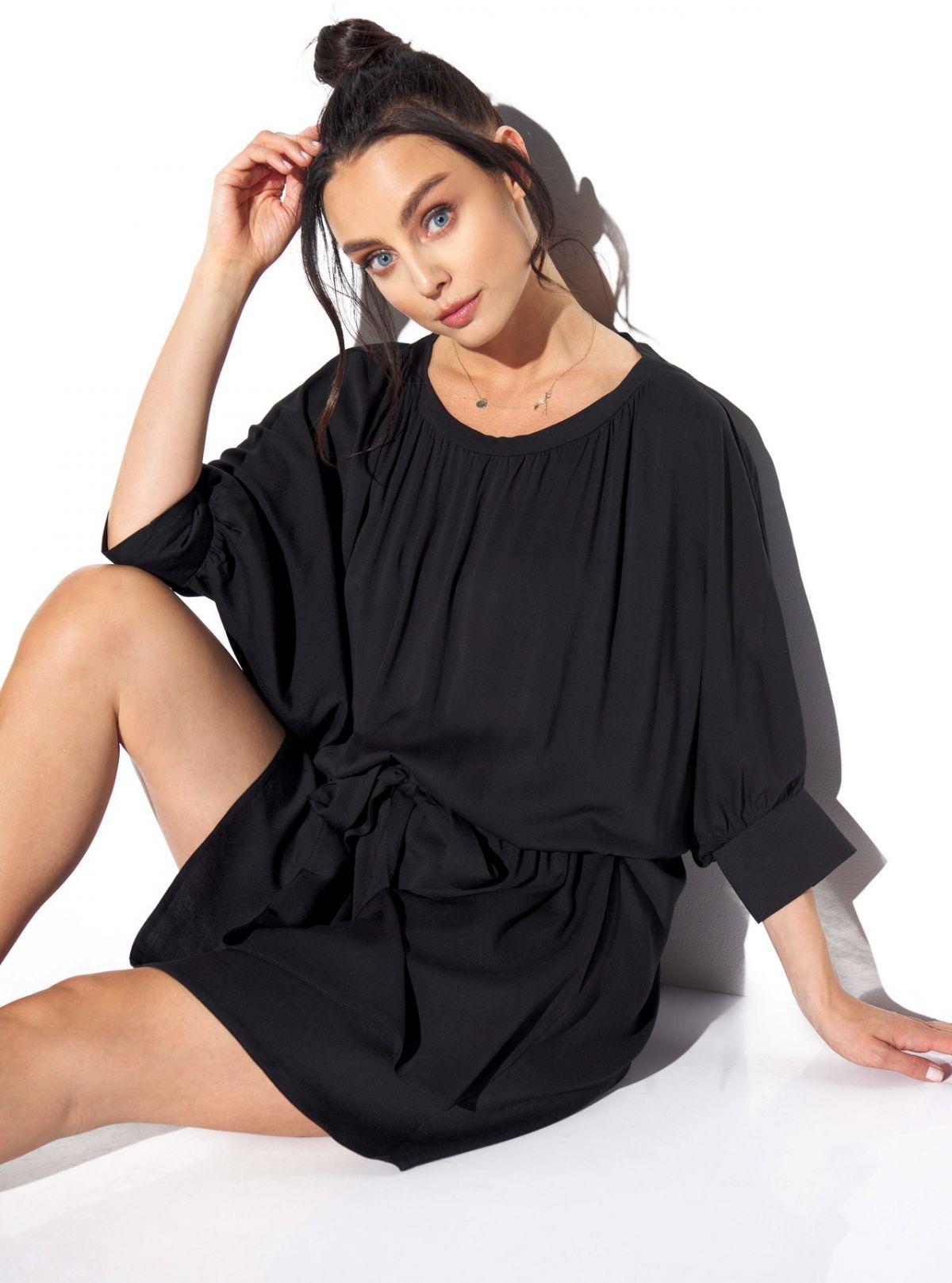 Klasyczna, zwiewna sukienka z wiązaniem w pasie L325 czarny