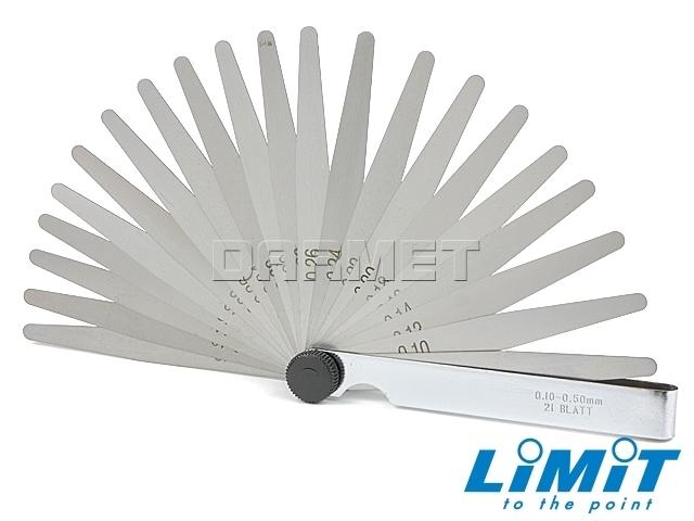Szczelinomierz płytkowy; 0,10-0,50 mm, 21 płytek- Limit (2595-3209)