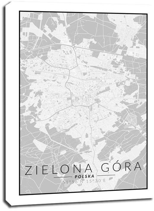 Zielona góra mapa czarno biała - obraz na płótnie wymiar do wyboru: 30x40 cm