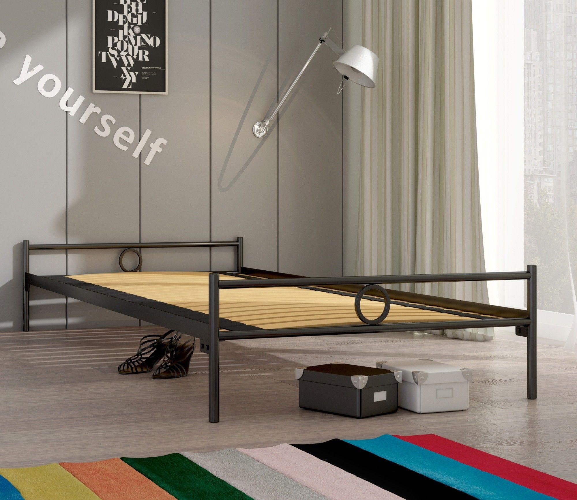 Łóżko metalowe podwójne Lak System Basic 140 x 200 ze stelażem