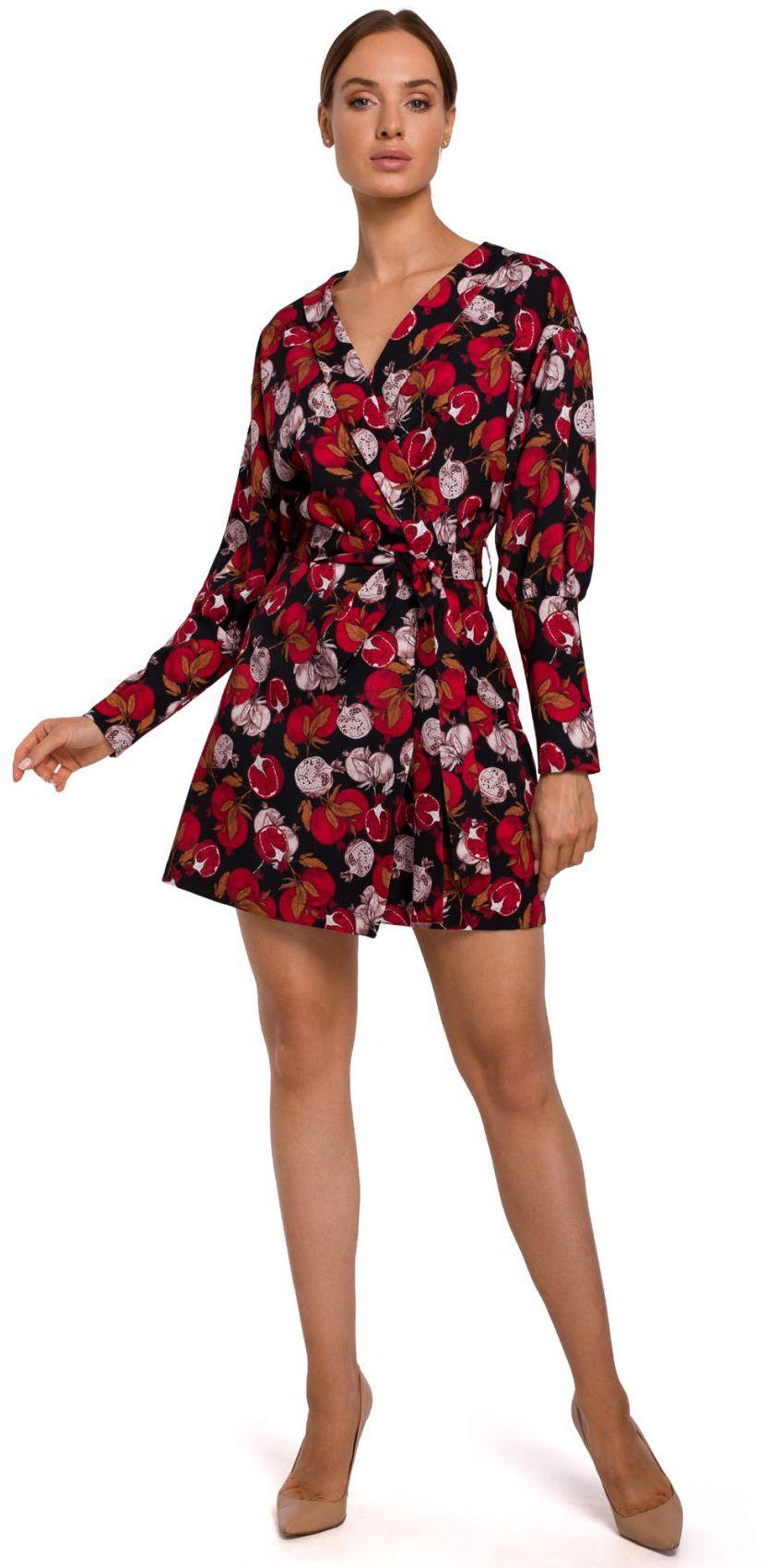 M548 Sukienka mini z bufiastymi rękawami we wzór - model 1