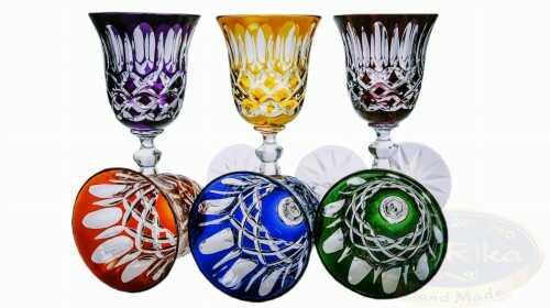 Kolorowe kryształowe kieliszki do likieru 60ml Krata Oliwka 6 sztuk