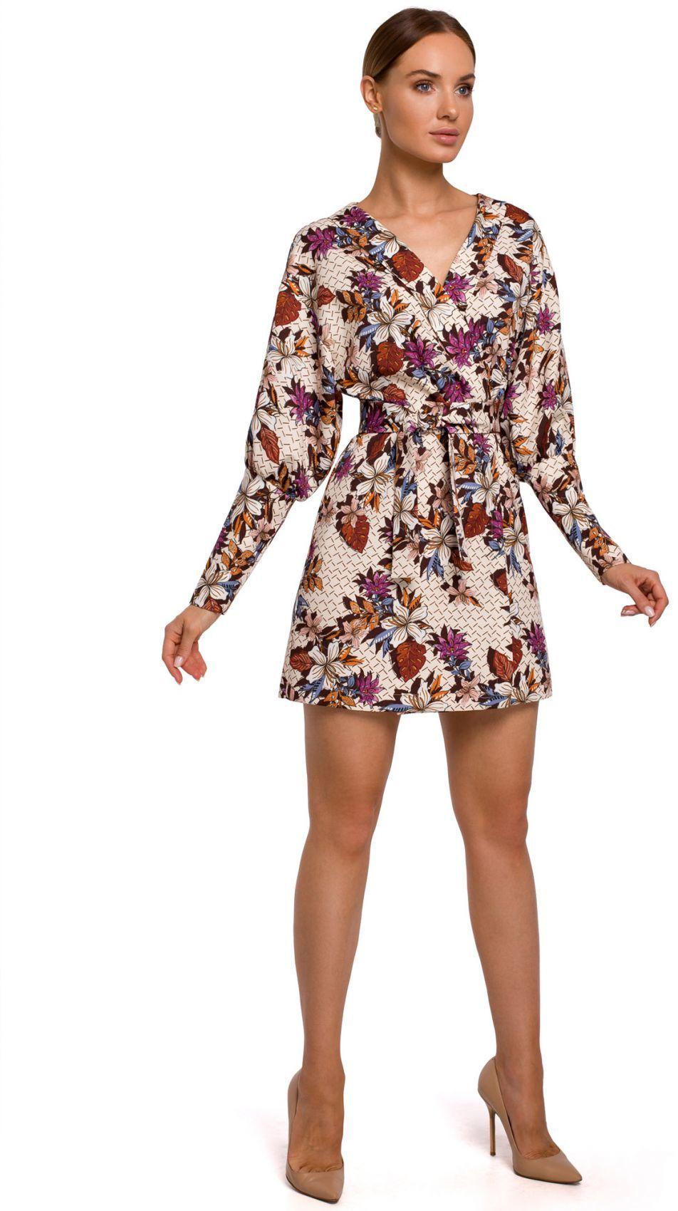 M548 Sukienka mini z bufiastymi rękawami we wzór - model 2