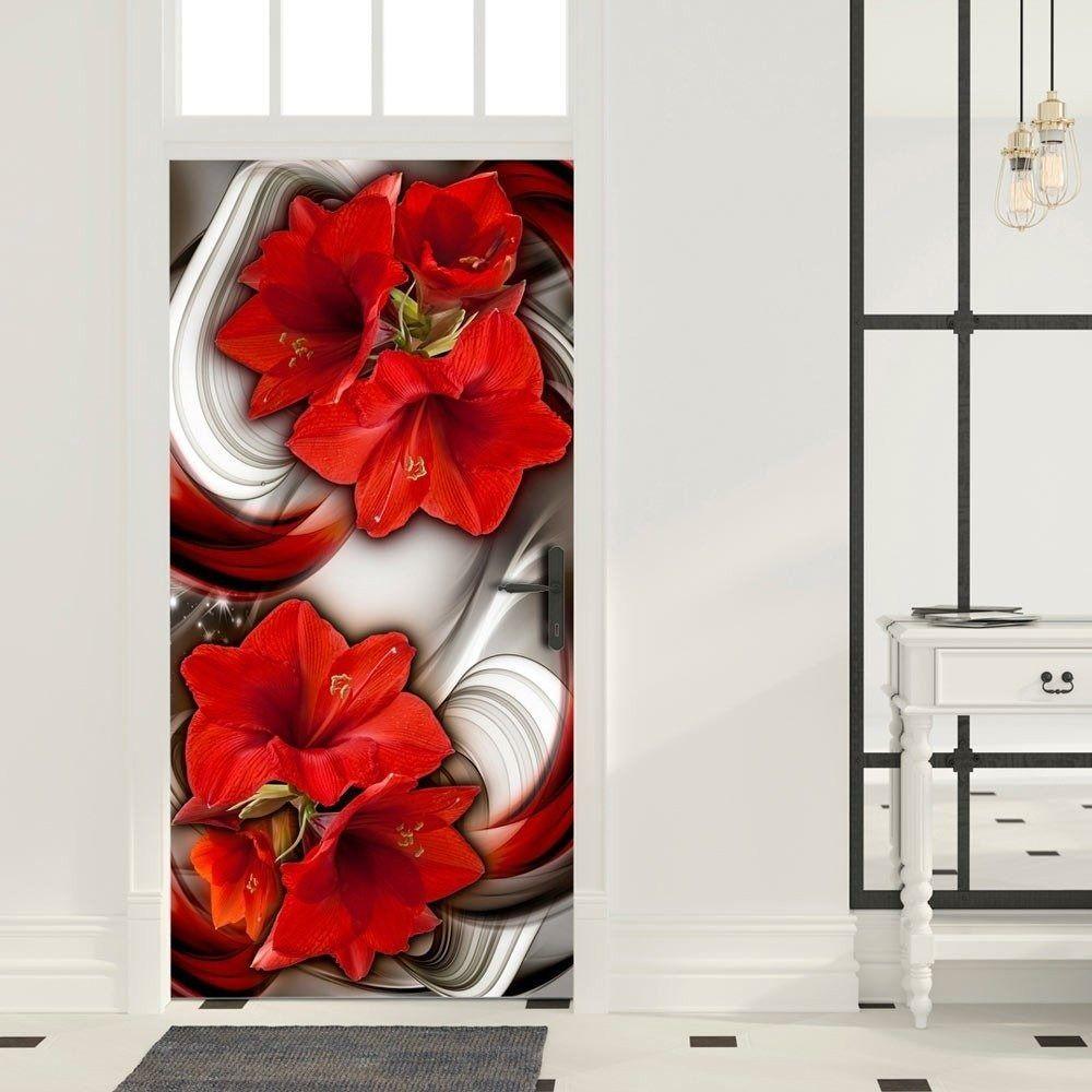 Fototapeta na drzwi - tapeta na drzwi - abstrakcja i czerwone kwiaty