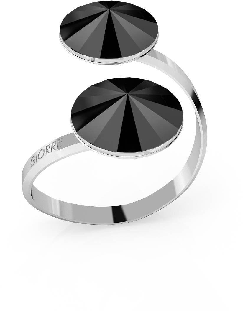 Srebrny pierścionek Swarovski rivoli 12mm, srebro 925 : Kryształy - kolor - Jet, Srebro - kolor pokrycia - Pokrycie platyną