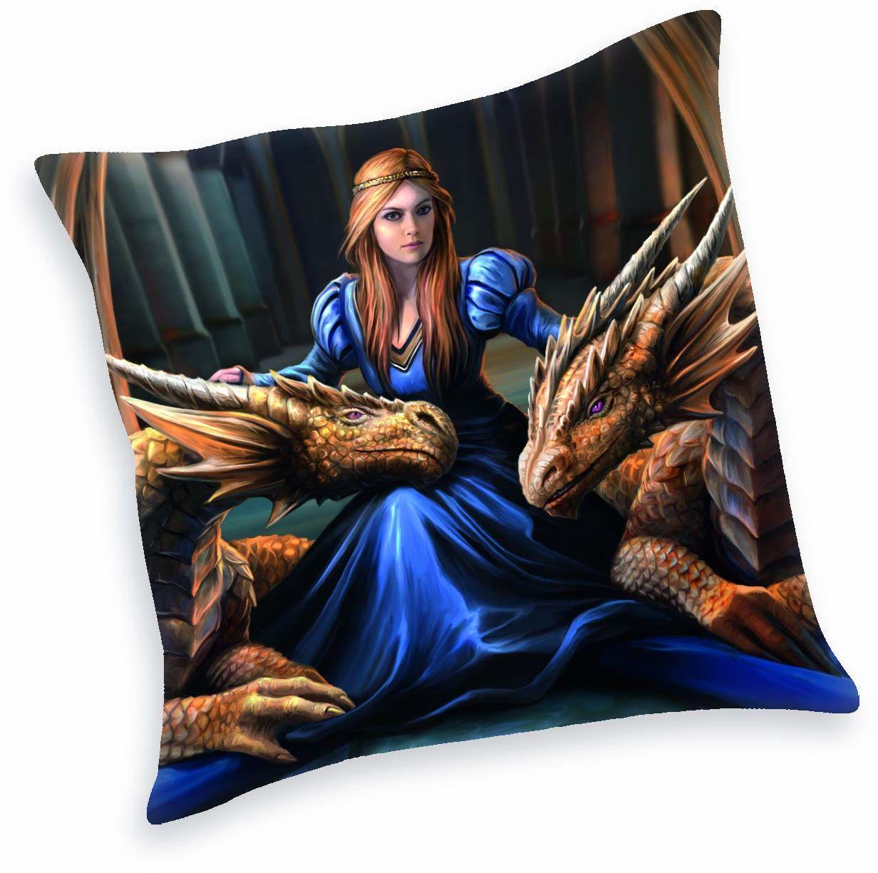 Herding Anne Stokes miękka aksamitna poduszka dekoracyjna, poliester, niebieska, 40 x 40 cm
