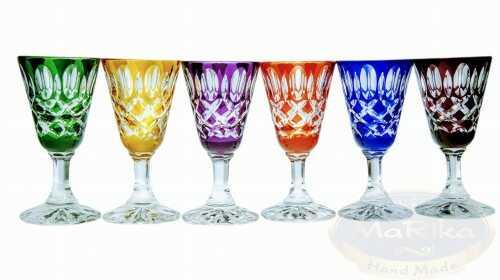Kolorowe kryształowe kieliszki do wódki 40 ml Krata Oliwka 6 sztuk