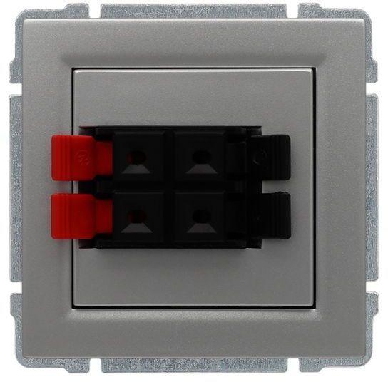 KOS66 Gniazdo głośnikowe podwójne aluminium 664071