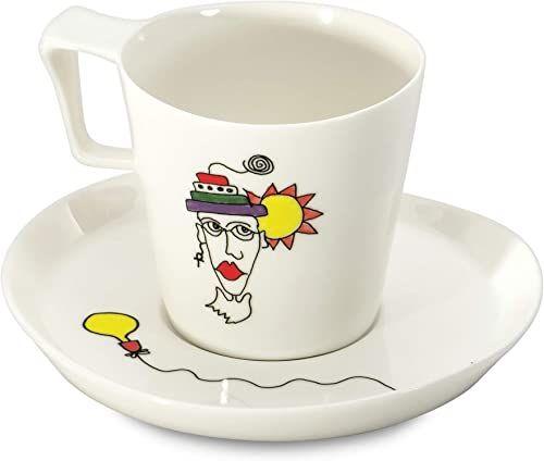 """BergHOFF """"Codriez"""" zeszklona porcelana kubki i spodki śniadaniowe, białe, zestaw 2 szt."""