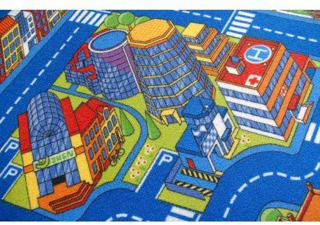 Dywan dziecięcy ULICZKI BIG CITY niebieski 100x100 cm
