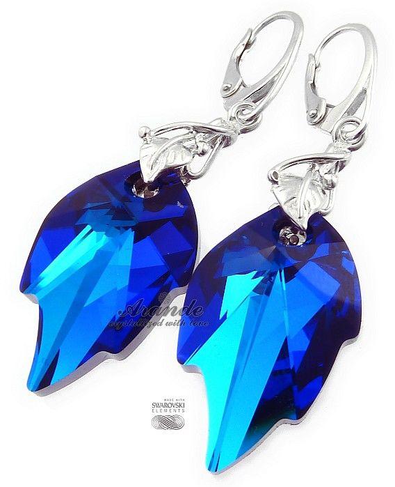Kryształy PIĘKNE KOLCZYKI BLUE LEAF LONG SREBRO