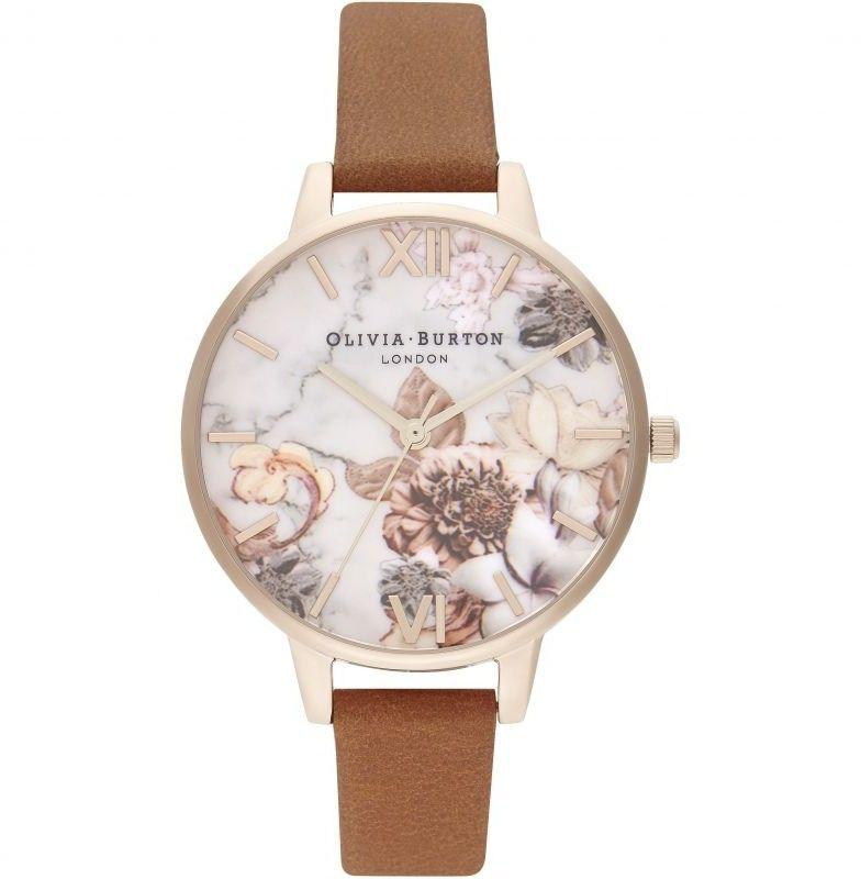 Zegarek damski Olivia Burton Marble Florals Honey Tan & Rose Gold OB16CS30