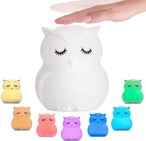 Pauleen 48033 Good Night Owl lampka nocna sowa dla dzieci z akumulatorem lampa LED do pokoju dziecięcego ze zmianą koloru, wykonana z silikonu niezawierającego BPA, biała