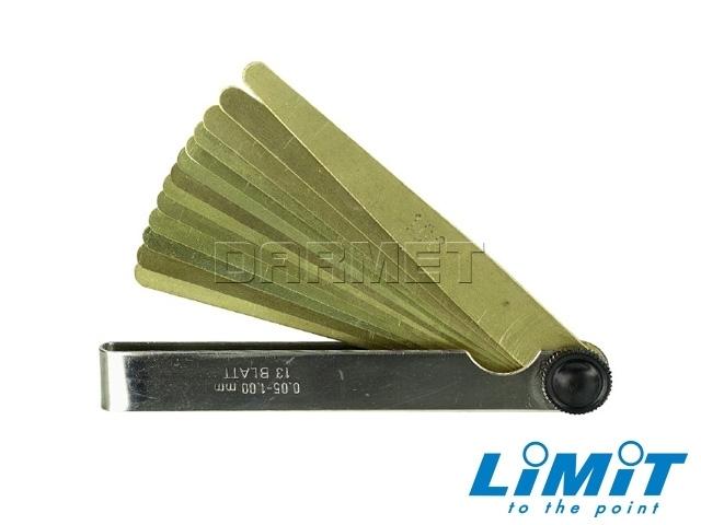 Szczelinomierz płytkowy mosiężny; 0,05-1,00 mm, 13 płytek - Limit (6792-1106)