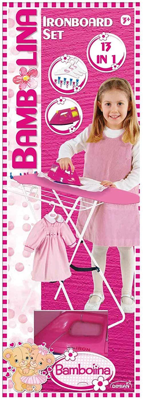 Dimian BD9306-217WB deska do prasowania z żelazkiem Bambolina, zestaw wraz z akcesoriami, odgrywanie ról dla dzieci, 13-częściowy, różowa