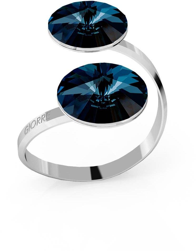 Srebrny pierścionek Swarovski rivoli 12mm, srebro 925 : Kryształy - kolor - Montana, Srebro - kolor pokrycia - Pokrycie platyną