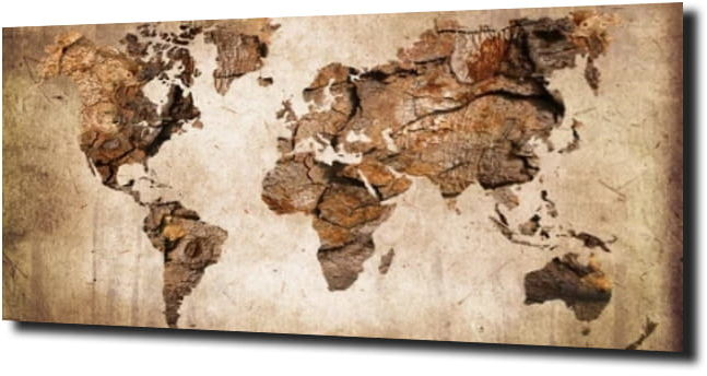 obraz na szkle Mapa drewno brąż 100X80