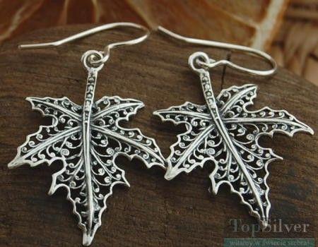 Ażurowy liść klonu - srebrne kolczyki