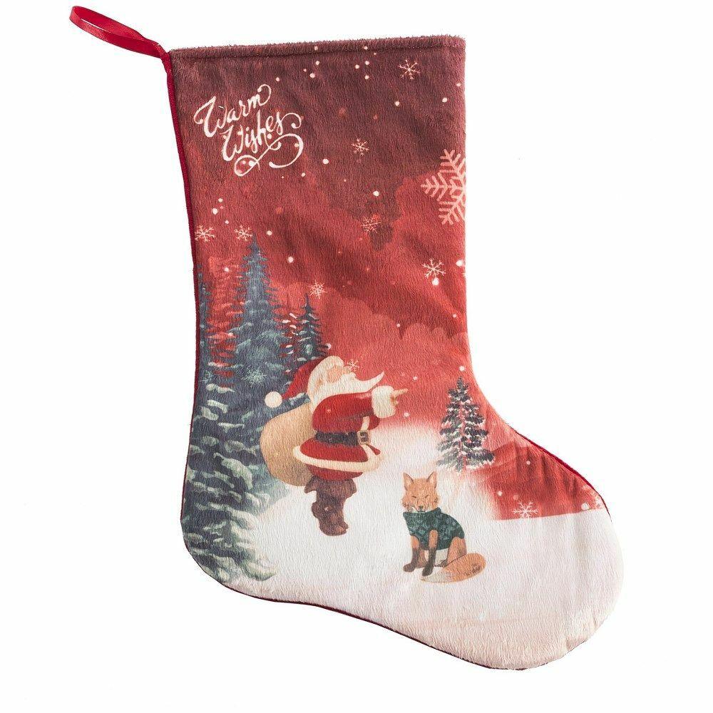 Ozdoba świąteczna Hygin skarpeta but czerwona biała Mikołaj choinki