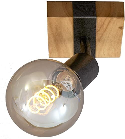 Briloner Leuchten - Lampa punktowa, lampa ścienna, kinkiet retro, vintage, reflektor obrotowy i wychylny, 1 x E27, drewno metalowe, kolor: Gunmetal, 100 x 103 x 90 mm (dł. x szer. x wys.), 2900-011