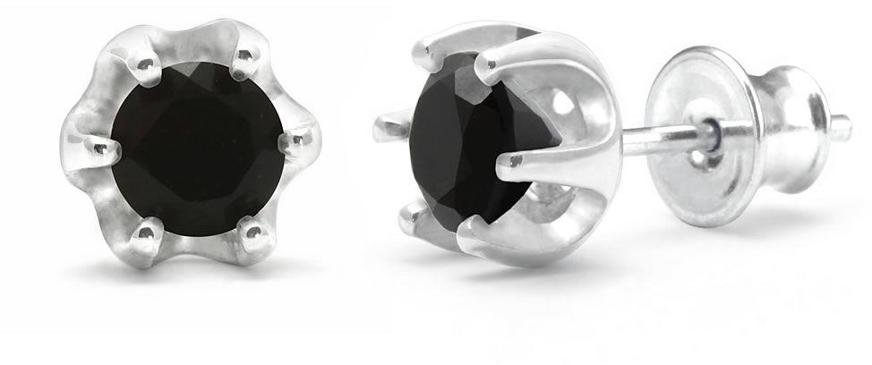 Kuźnia Srebra - Kolczyki srebrne sztyft, 16mm, Czarny Onyks, 2g, model