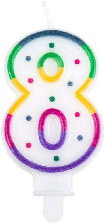 Boland 31068  świeca urodzinowa liczba 8, 1 sztuka, ośmiu świec, z świecznikiem, szpikulcem, mini świeca, świeca do tortu, ciasto, urodziny, przedszkole, dekoracja, prezent, wielokolorowa