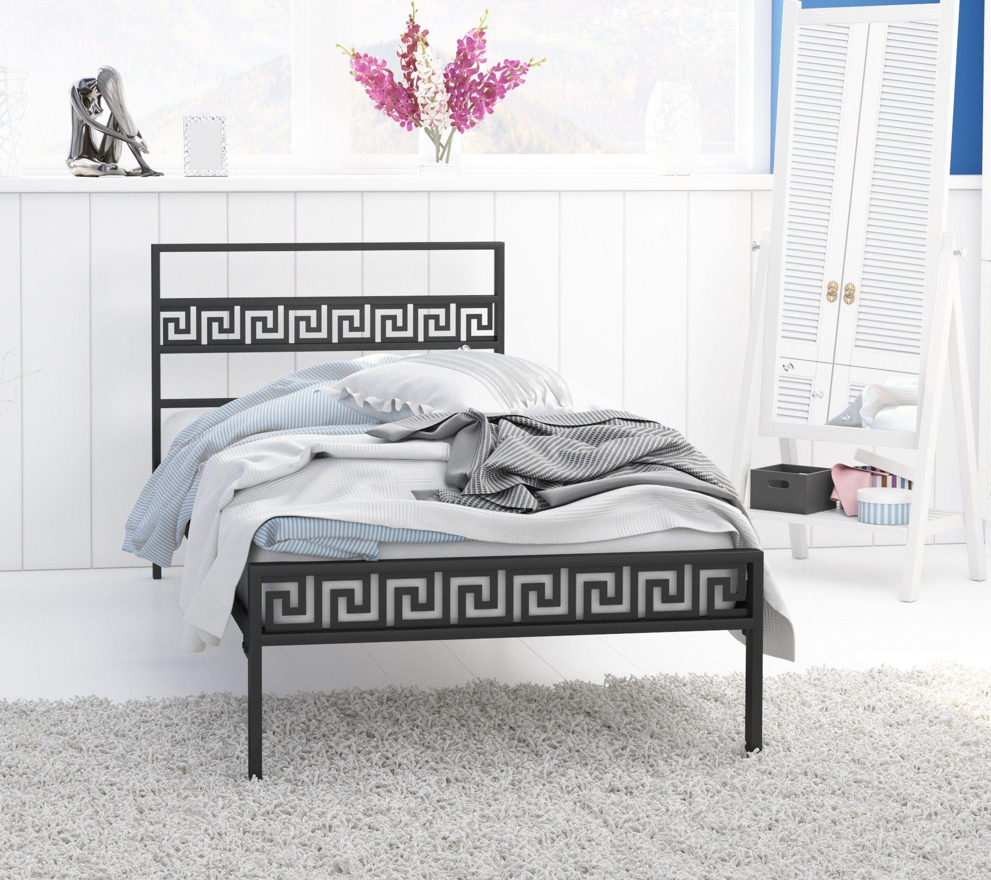 Łóżko metalowe podwójne 160x200 wzór 9 ze stelażem