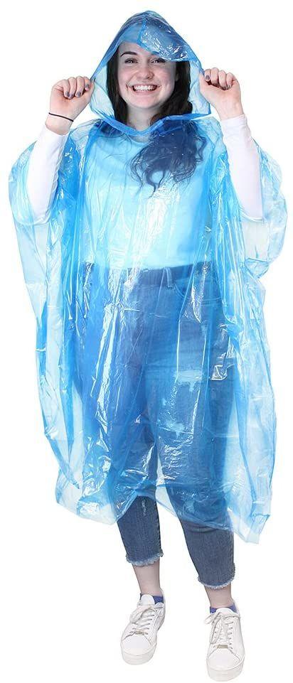 eBuyGB 4 przezroczyste wodoodporne poncza przeciwdeszczowe (niebieskie)