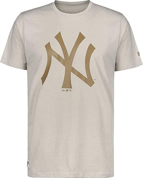New Era Męski T-shirt Mlb Seasonal Team Logo New York Yankees Stone T-shirt męski beżowy Med Beige XS-S