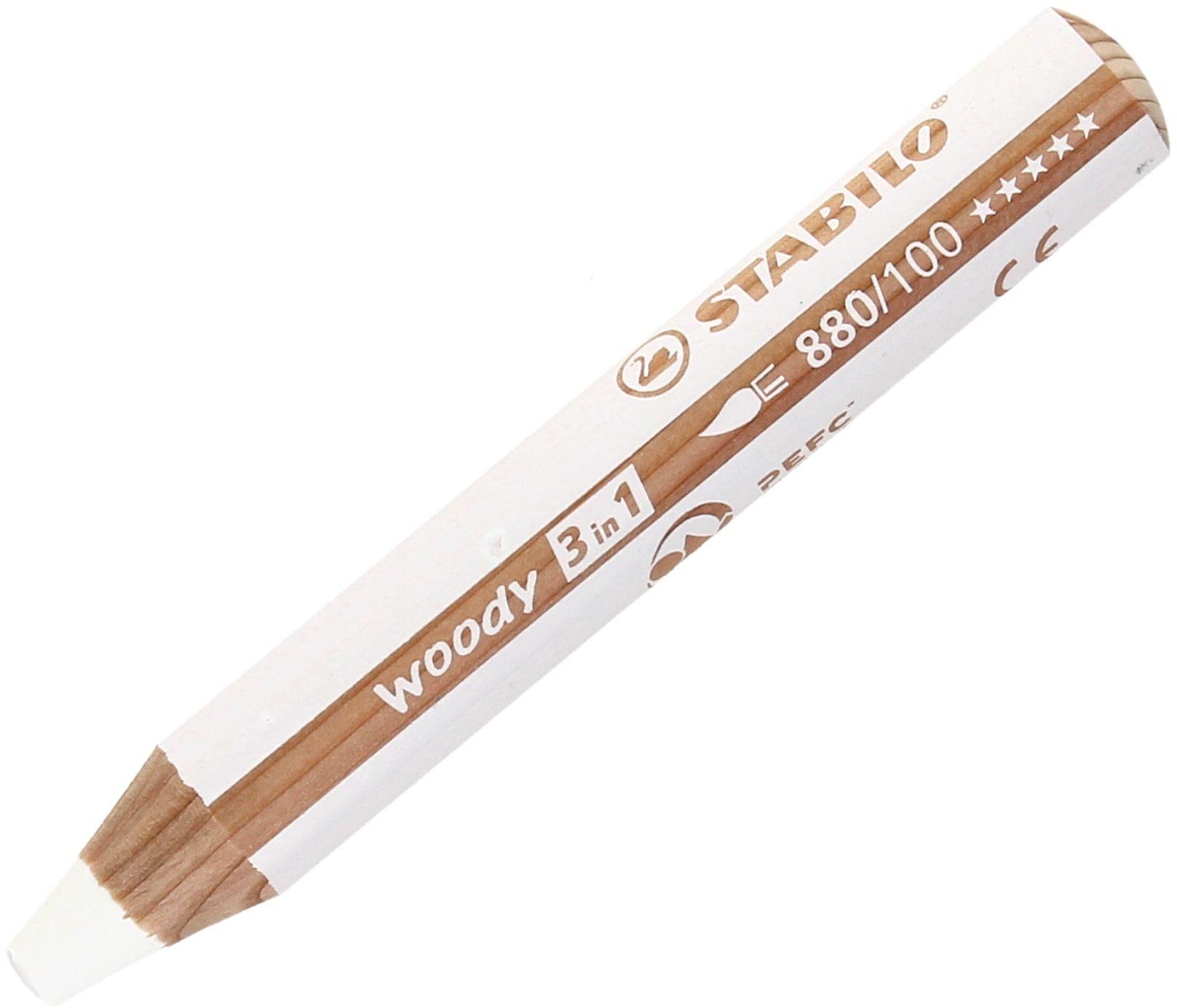 Kredki 3w1 biała Woody Stabilo 880/100