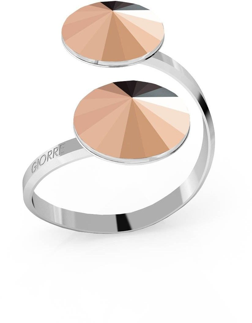 Srebrny pierścionek Swarovski rivoli 12mm, srebro 925 : Kryształy - kolor - Rose Gold, Srebro - kolor pokrycia - Pokrycie platyną