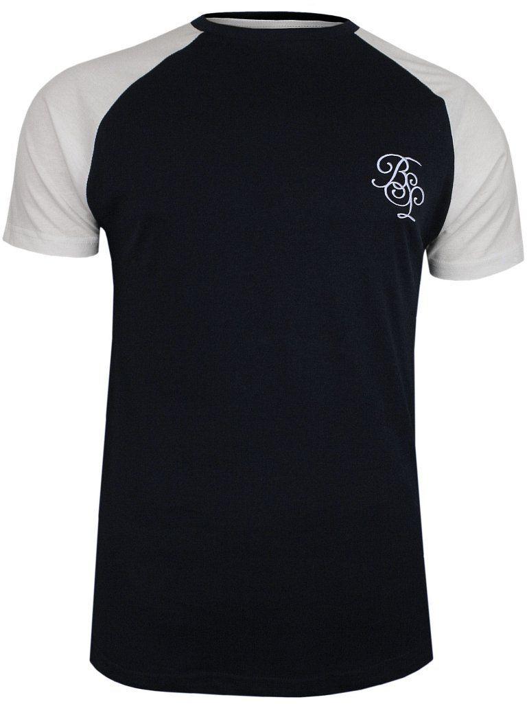 Granatowo-Biały Bawełniany T-Shirt Męski -Brave Soul- Koszulka, Krótki Rękaw, Logo TSBRSSS20MODELrichnavy