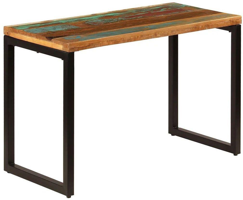 Stół jadalniany z odzyskanego drewna i stali Abis  wielokolorowy